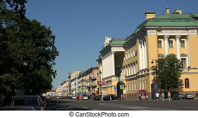 Admiralteisky Avenue in St. Petersburg. 4K.