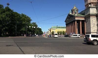 Admiralteisky Avenue in St. Petersburg. Shot in 4K...