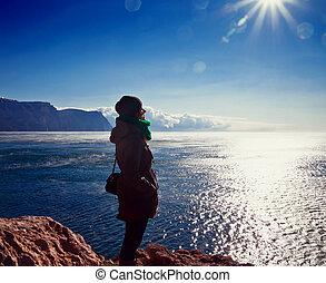admire, girl, jeune, vue mer