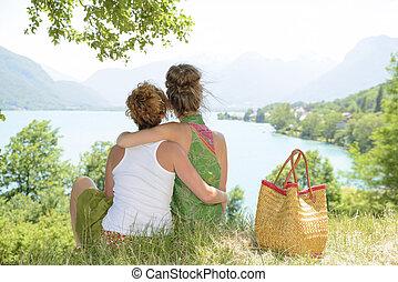 admirer, Lesbiennes, deux, paysage,  nature