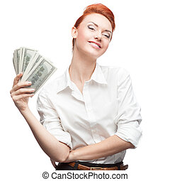 admiring business woman holding money