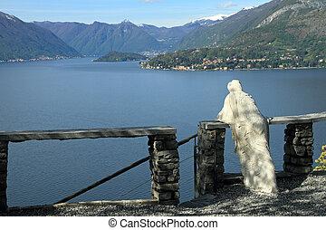 admiring fantastic view of Lake Como