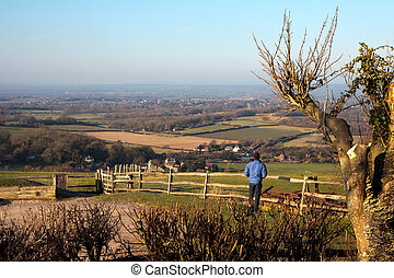 Admiring the view from the South Downs at Ditchling