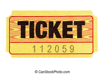 admisión, boleto, amarillo