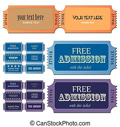 Admission Tickets - Image of various colorful admission...