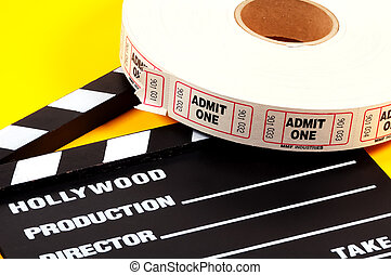 Admission Tickets - Movie Clapboard and Admit One Tickets