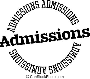 ADMISSIONS stamp on white background