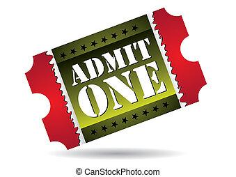 Admit one cinema ticket, vector illustration