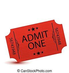 ticket - Admit one movie ticket isolated on white