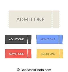 Admit one pass tickets set