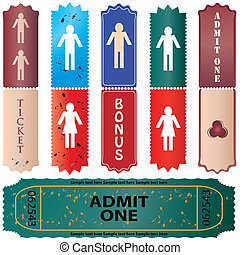 admit one ticket - colored vector