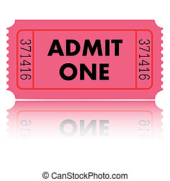 Illustration of a pink admit one ticket on a white background