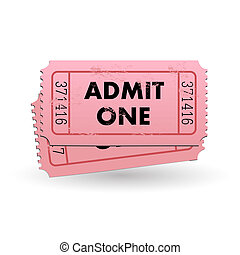 Admit One Ticket - Image of a pink Admit One ticket isolated...