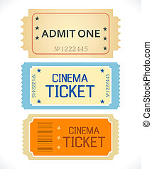 Admit One. Ticket Isolated on a White Background. Clean...