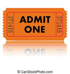 Orange admit one ticket on a white background