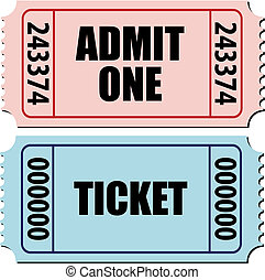 admit one ticket - vector illustration of a pair of tickets ...
