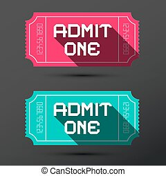 Admit One Ticket.Retro Pink and Blue Tickets Set.
