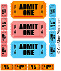 admit one tickets 1 - group of sequentially numbered admit...