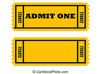 Admit one tickets - Illustration of two cinema or movie...