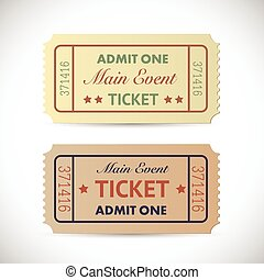 Admit One Tickets - Illustration of a vintage Admit One...