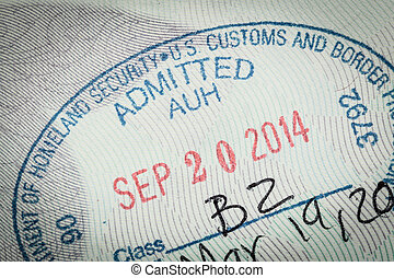 admitted stamp of USA American Visa for immigration travel conce