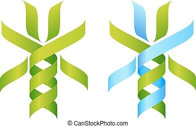 adn, árvore, ícone