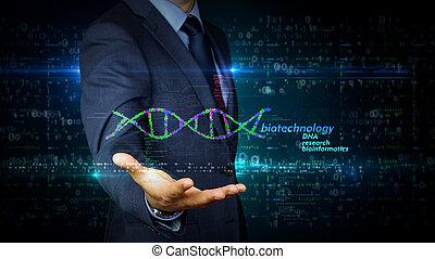adn, écran, hélix, homme affaires, toucher, biotechnologie,...