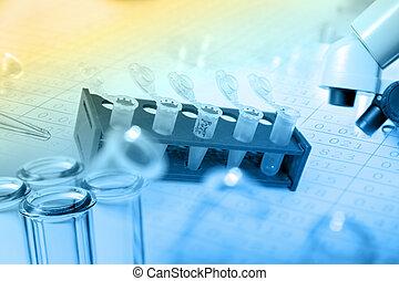 adn, analys, micro, muestras, biológico, laboratorio, tubos