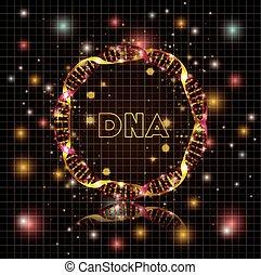 adn, circulaire, molécule, structure, doré