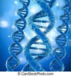 adn, concept, monde médical, molécule, illustration, précis, 3d
