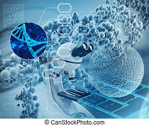 adn, dobro, microscópio, célula, hélice, human