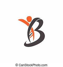 adn, formé, b, lettre, logo