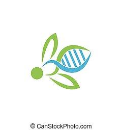 adn, symbole., abeille, vecteur, logo, illustrator.