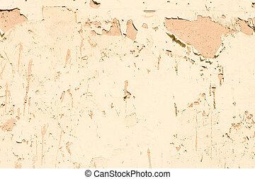 adobe, a mûri, écaillement, mur, pelant coloriage, fermé