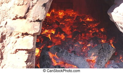 Adobe Brick Oven Inside Dolly - Close up, dolly shot of the...