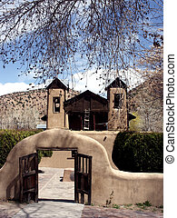 Adobe Church - Adobe chapel, Dio De Chimayo, in New Mexico