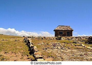 adobe, granjero, casa, en el campo, de, bolivia