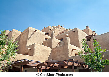 Adobe style hotel in Santa Fe, New Mexico. Trying to look like a Native American pueblo