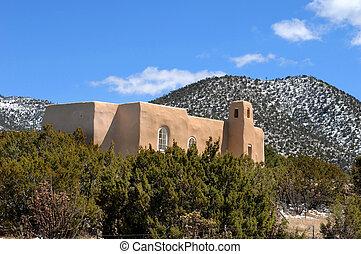 adobe, iglesia, y, paisaje