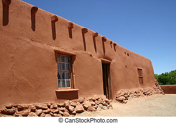 Adobe Ranch House - Long, low massive walls of 400 year old...