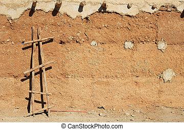 adobe, safian, ściana, afryka, sahara, tło, pustynia