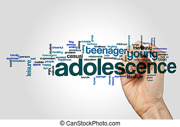 Adolescence word cloud concept on grey background.