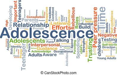 adolescencia, plano de fondo, concepto