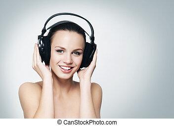 adolescent, écoute, headph, jeune, musique, jolie fille
