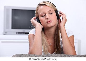 adolescent, écouteurs, musique écouter, par, girl