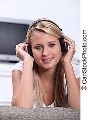 adolescent, écouteurs, musique, girl, écoute