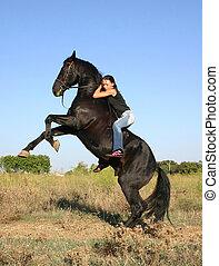adolescent, équitation