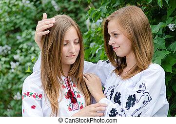 adolescent, étreinte, filles, deux amis, comort