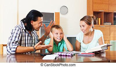 adolescent, étude, gronde, fils, mauvais, parents