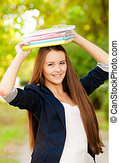 adolescent, étudiant, girl, tenue, livres